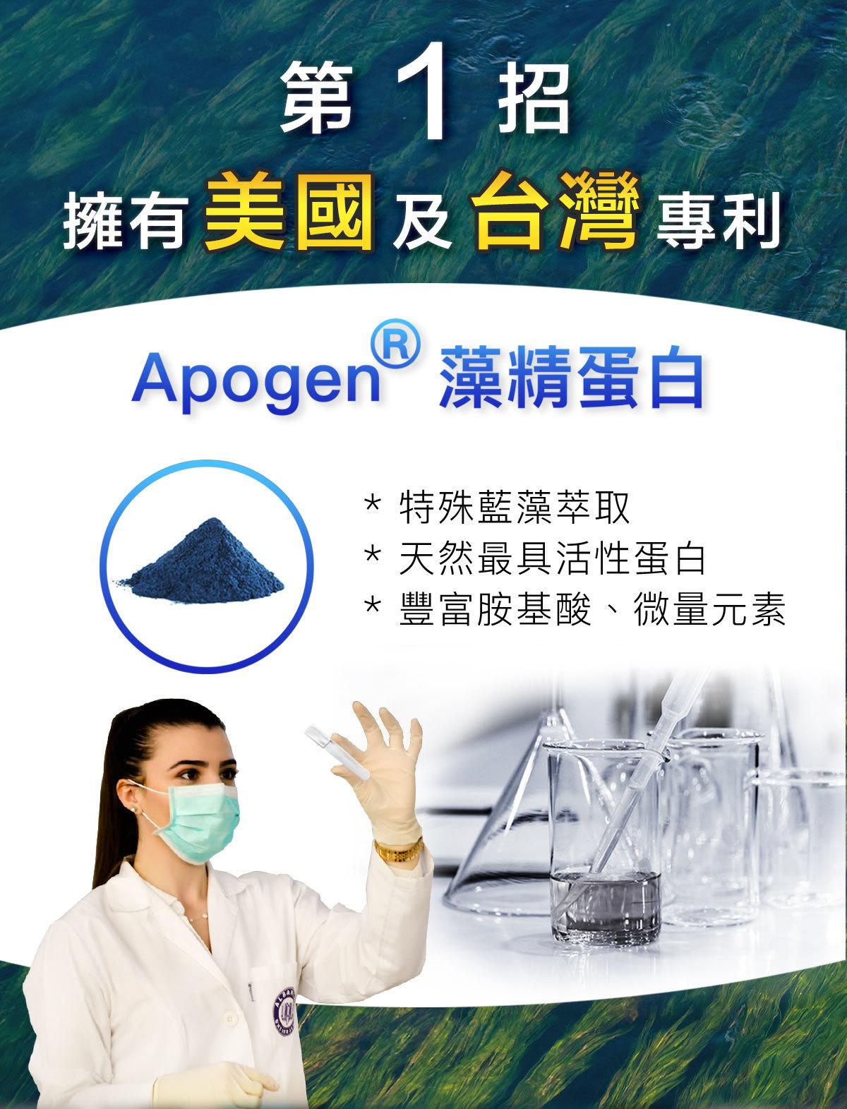 全家力酵素-Apogen藻精蛋白,美國、台灣兩國專利